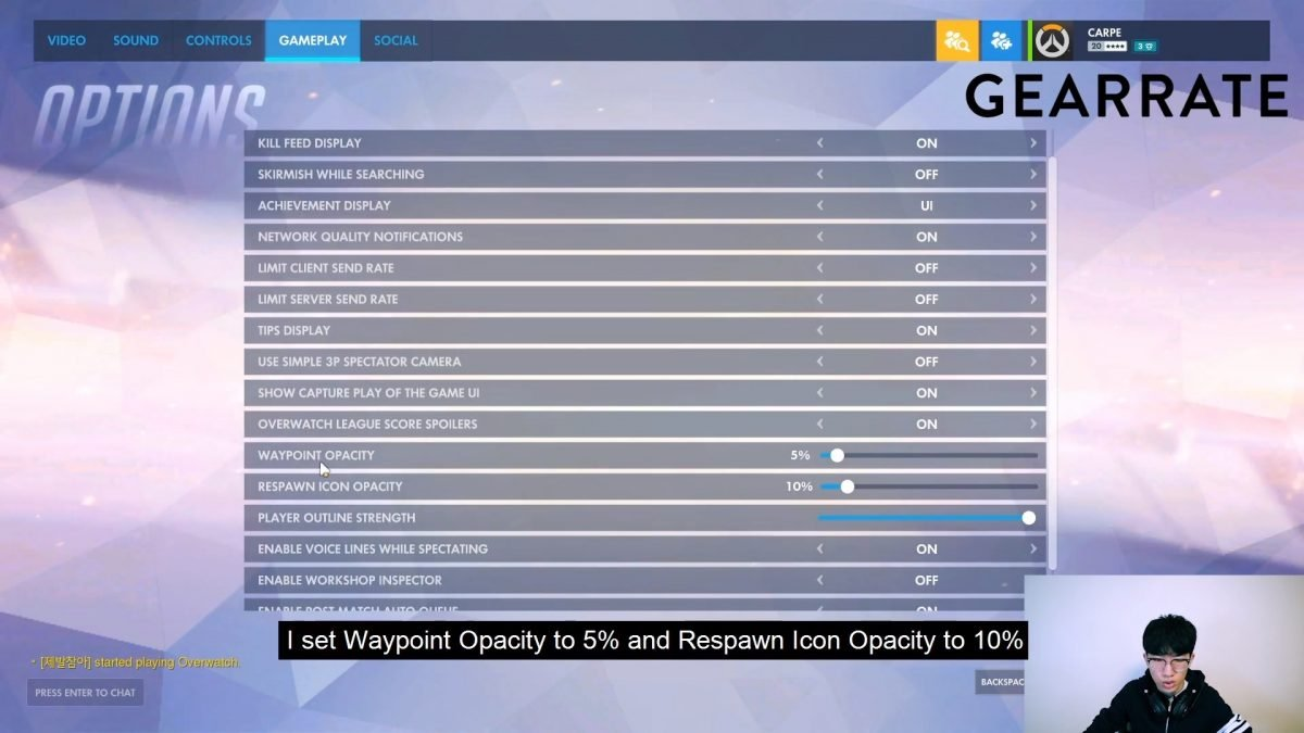 Carpe's Overwatch Gameplay Settings