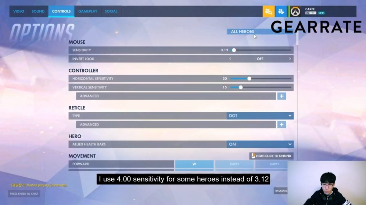 Carpe's Overwatch Sensitivity Settings