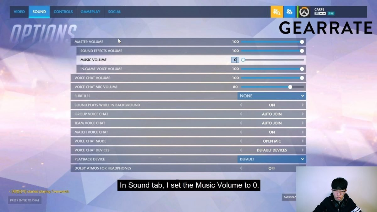 Carpe's Overwatch Sound Settings
