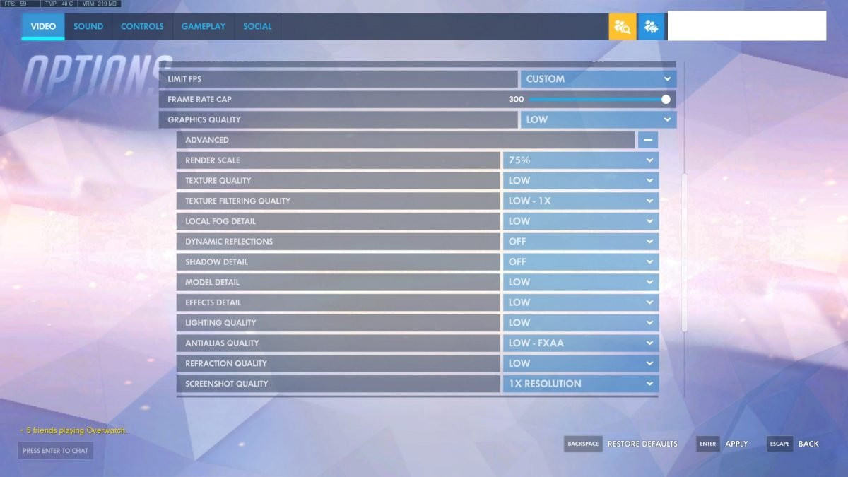 Overwatch Graphics Quality Settings